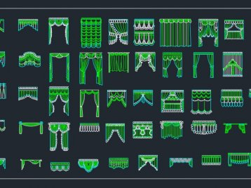 窗帘CAD立面图库下载