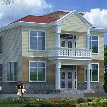 二层(10.76×7.96米)农村自建别墅CAD图纸下载