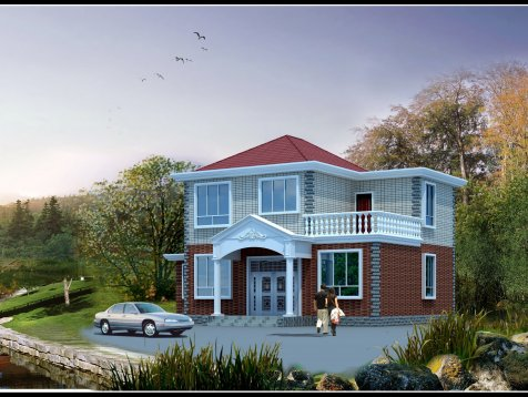 二层(10.9×9.1米)农村自建别墅CAD图纸下载